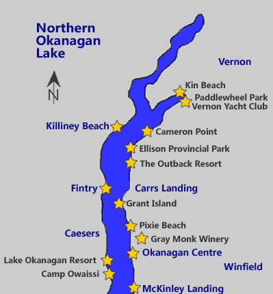 North Okanagan Lake boating map