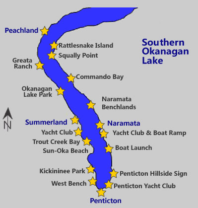South Okanagan Lake boating map